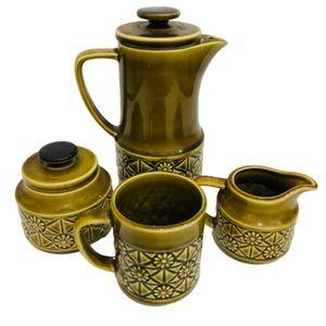 Vintage Mid Century Avocado Green Tea for One Set